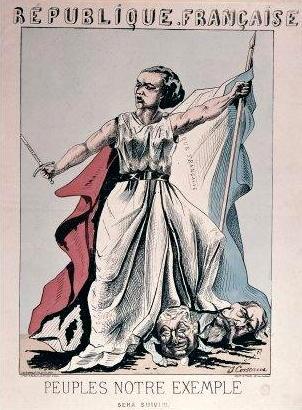 La República francesa personificada com Louisa Michel, en un dibuix de J. Corseaux