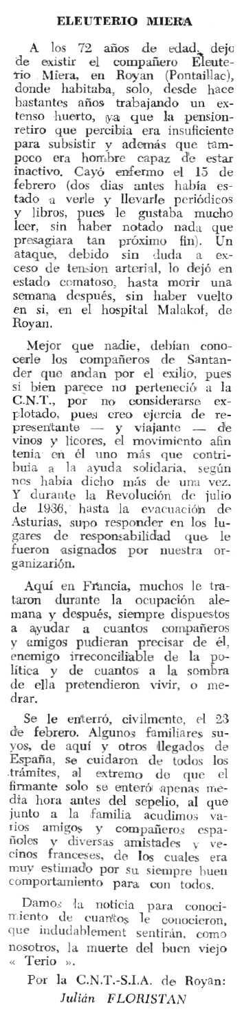 """Necrològica d'Eleuterio Miera Elizalde apareguda en el periòdic tolosà """"Espoir"""" del 18 de juny de 1967"""