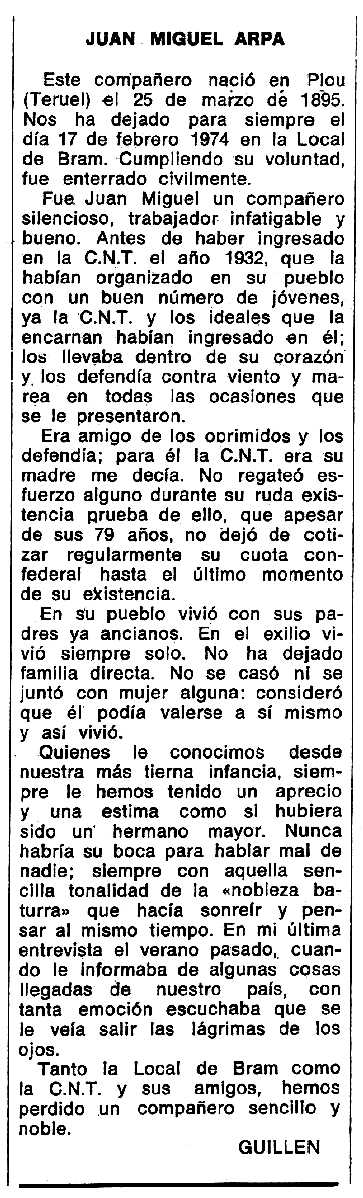 """Necrològica de Juan Miguel Arpa apareguda en el periòdic tolosà """"Espoir"""" del 12 de maig de 1974"""