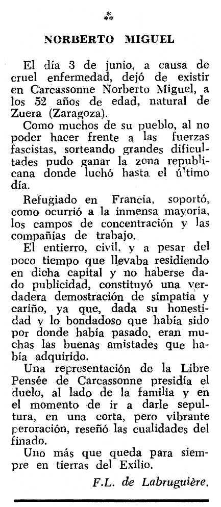 """Necrològica de Norberto Miguel Pardo apareguda en el periòdic tolosà """"Espoir"""" del 14 d'octubre de 1962"""