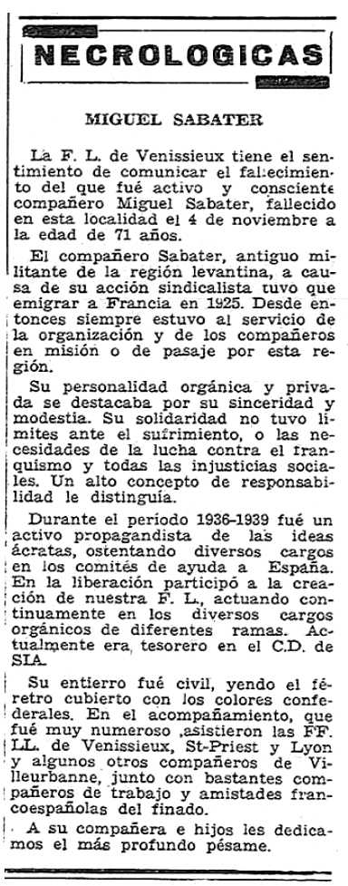 """Necrológica de Miguel Sabater aparecida en el número 609 del periódico parisino """"Solidaridad Obrera"""" del 22 de noviembre de 1956"""