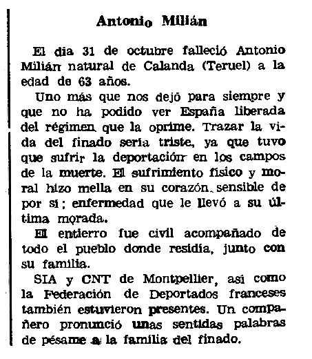 """Necrològia d'Antonio Milián Bondía apareguda en el periòdic parisenc """"Le Combat Syndicaliste"""" del 13 de gener de 1977"""