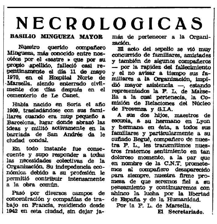 """Necrològica de Basilio Mingueza Mayor apareguda en el periòdic tolosà """"Espoir"""" del 27 de setembre de 1970"""