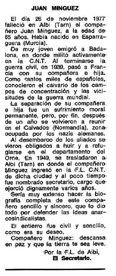"""Necrològica de Juan Mínguez Martínez apareguda en el periòdic tolsosà """"Espoir"""" del 27 de març de 1978"""