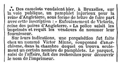 """Notícia de la detenció de Victor Minne apareguda en el diari parisenc """"Le Temps"""" del 9 de desembre de 2000"""