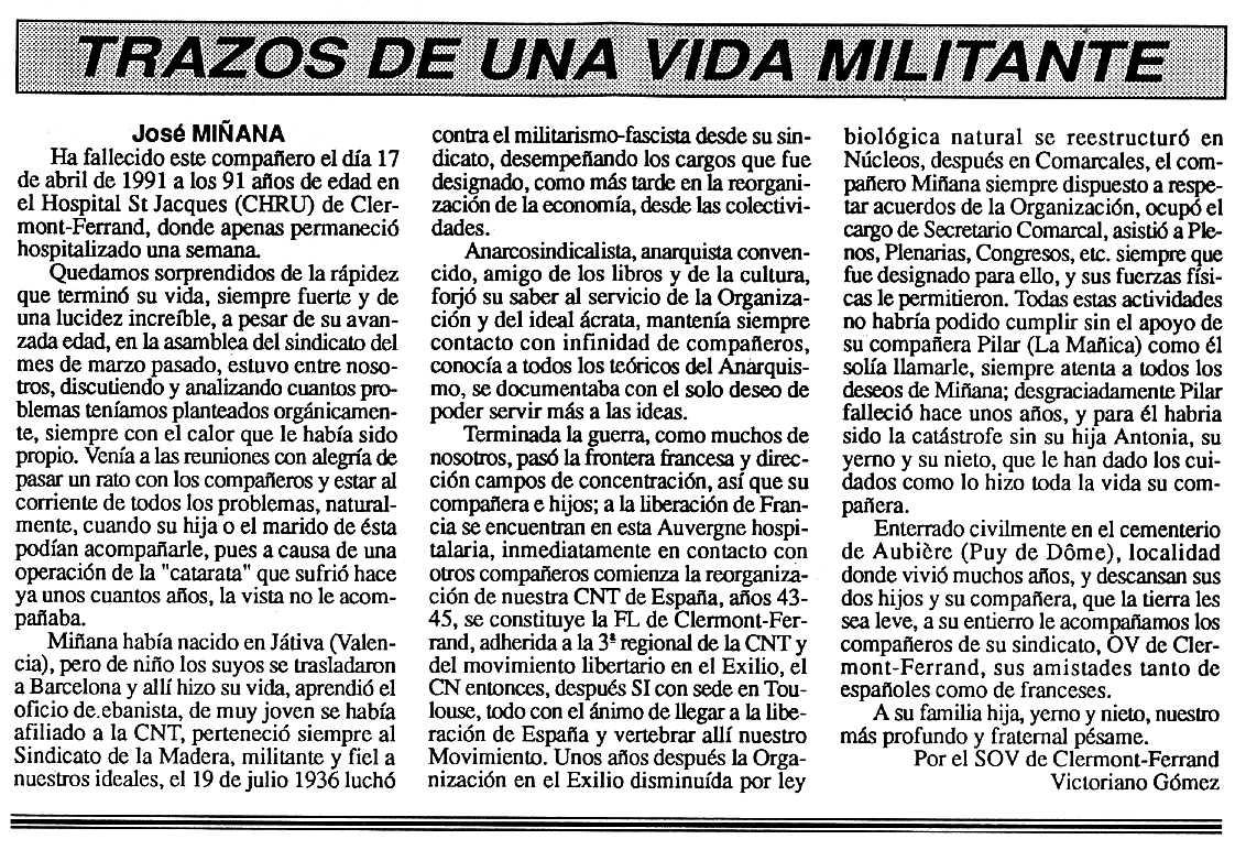 """Necrològica de José Miñana apareguda en el periòdic tolosà """"Cenit"""" del 21 de maig de 1991"""