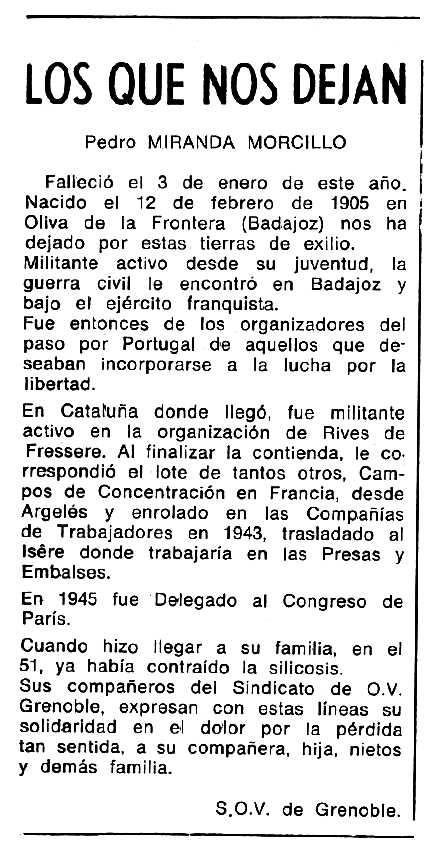 """Necrològica de Pedro Miranda Morcillo apareguda en el periòdic tolosà """"Cenit"""" del 8 de març de 1988"""