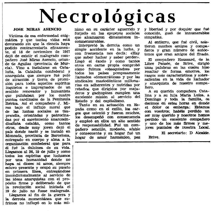 """Necrològica de José Miras Asencio apareguda en el periòdic tolosà """"Espoir"""" del 25 de febrer de 1968"""