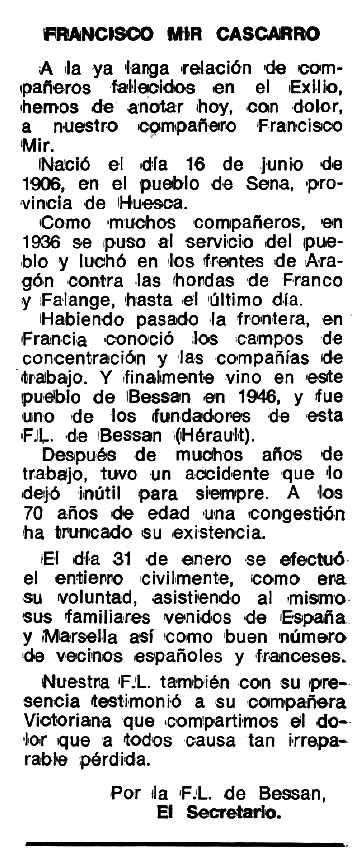 """Necrològica de Francisco Mir Cazcarro apareguda en el periòdic tolosà """"Espoir"""" del 18 de juny de 1979"""