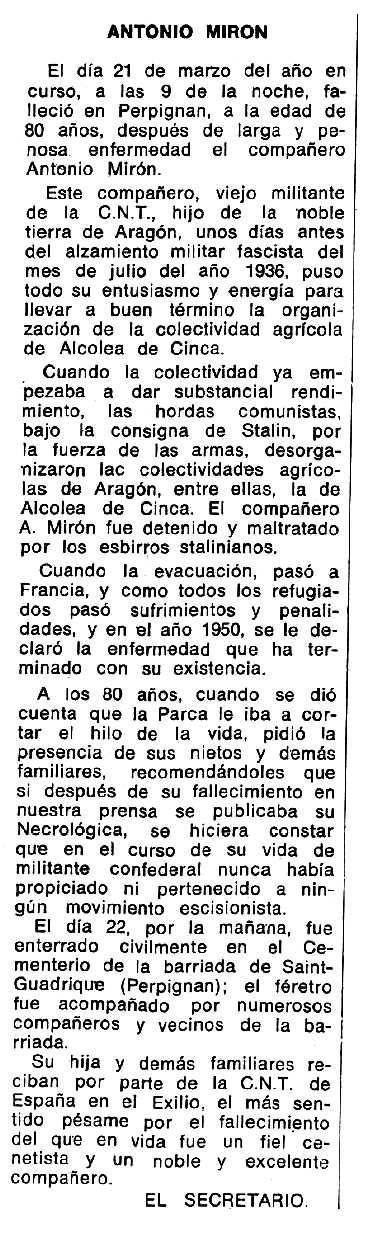 """Necrològica d'Antonio Mirón Bosque apareguda en el periòdic tolosà """"Espoir"""" del 3 d'agost de 1975"""