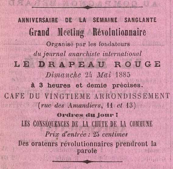 """Propaganda del míting apareguda en el setmanari parisenc """"Le Drapeau Rouge"""" del 24 de maig de 1885"""
