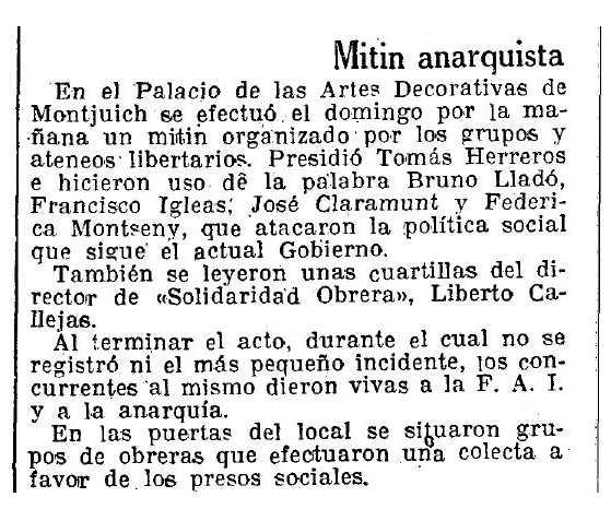 """Ressenya del míting publicada en """"La Vanguardia"""" del 21 de març de 1933"""