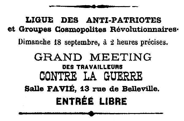 """Convocatòria de l'acte publicada en el primer número del periòdic parisenc """"La Révolte"""" del 17 de setembre de 1887"""