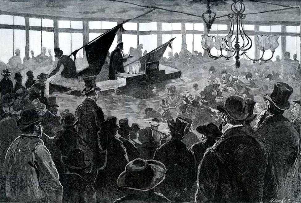 """Dibuix d'Hévizu del míting de la Boule-Noire imprés per Henri Dochy i publicat en el periòdic parisenc """"Le Monde Illustré"""" del 5 de febrer de 1887"""
