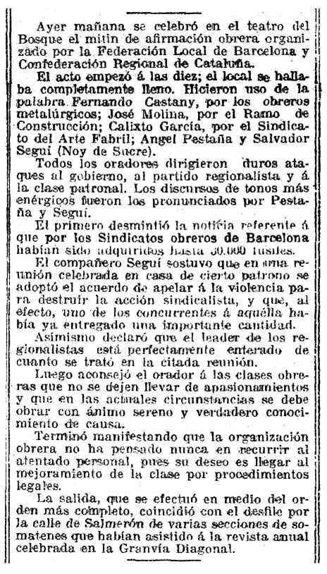 """Ressenya del míting apareguda en """"La Vanguardia"""" (13 de gener de 1919)"""