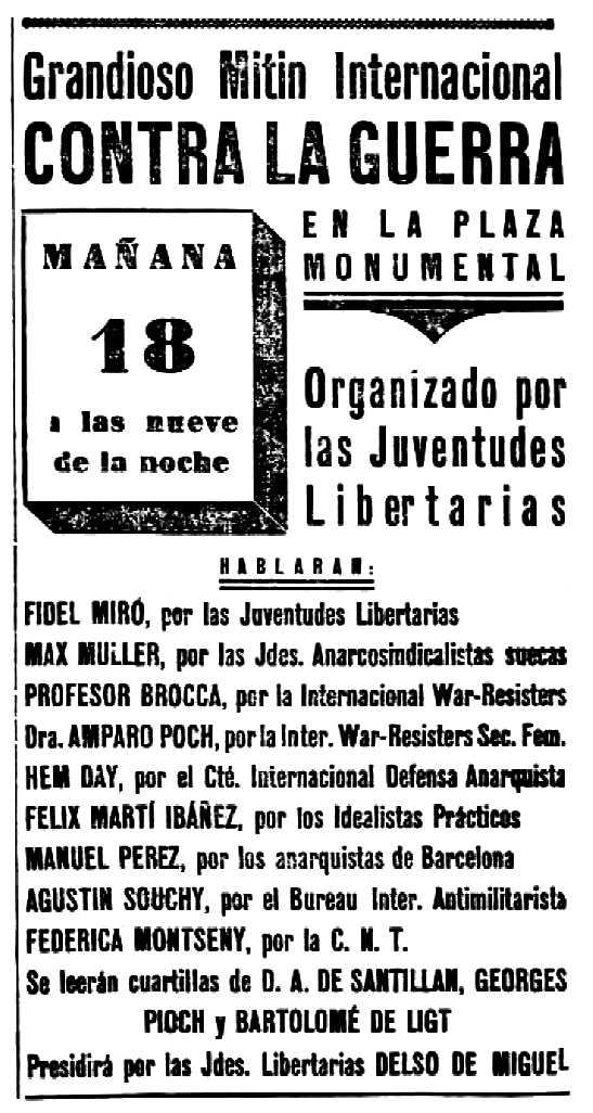 """Convocatòria del míting apareguda en el diari barceloní """"Solidaridad Obrera"""" del 17 de juliol de 1936"""