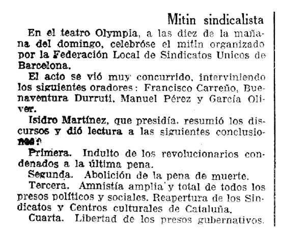 """Ressenya de l'acte apareguda a """"La Vanguardia"""" del 7 de gener de 1936"""