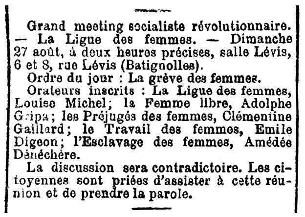 """Convocatòria del míting apareguda en diari parisenc """"Le Radical"""" del 27 d'agost de 1882"""