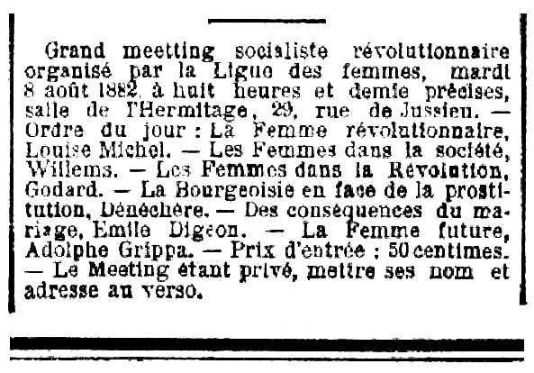 """Notícia sobre el míting apareguda en el diari parisenc """"La Justice"""" del 9 d'agost de 1882"""