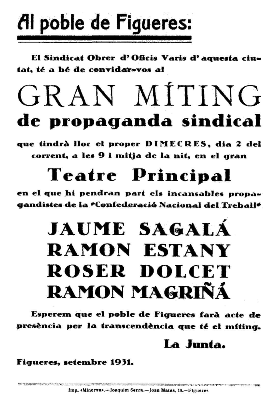 Acte on parlà Roser Dulcet Martí (2 de setembre de 1931)