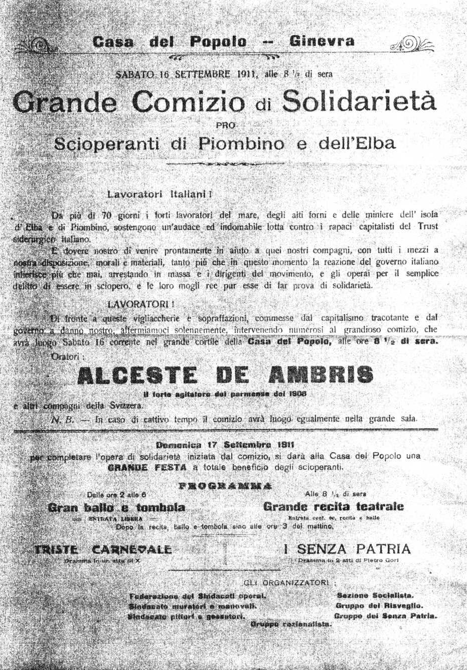 Pamflet de convocatòria de l'acte