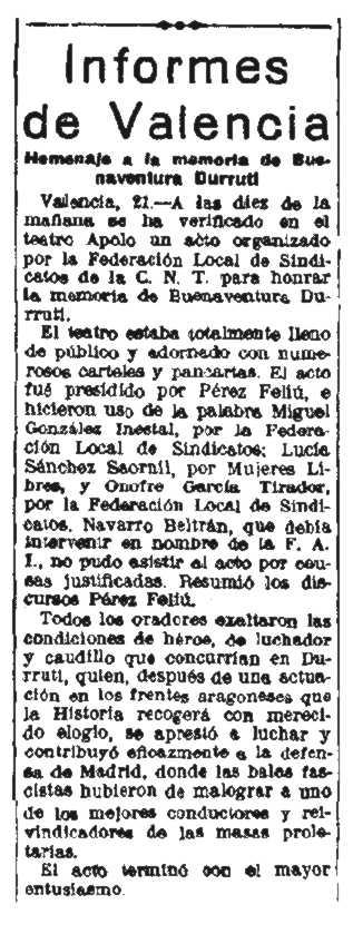 """Ressenya del míting aparegueda en el periòdic madrileny """"La Libertad"""" del 22 de novembre de 1937"""
