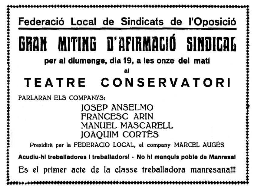 "Propaganda del míting apareguda en el diari manresà ""El Dia"" del 17 de gener de 1936"