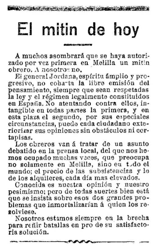 """Notícia sobre el míting apareguda en el diari de Melilla """"El Telegrama del Rif"""" del 25 de gener de 1914"""
