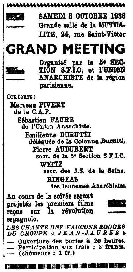 """Propaganda del míting publicada en el diari socialista parisenc """"Le Populaire"""" del 2 d'octubre de 1936"""