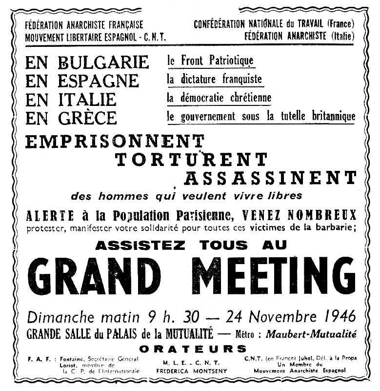 """Propaganda del míting publicada en el periòdic parisenc """"Le Libertaire"""" del 22 de novembre de 1946"""