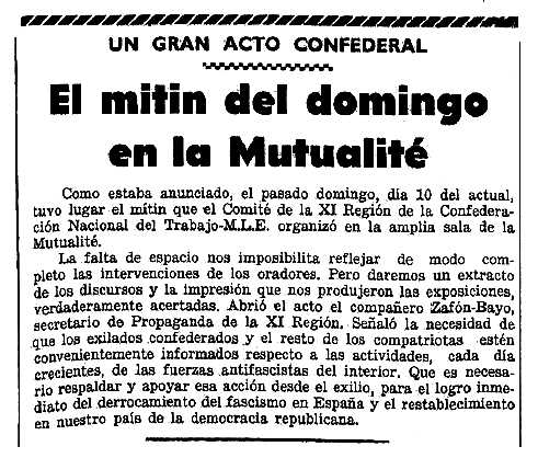 """Notícia del míting apareguda en el periòdic parisenc """"España Libre"""" del 16 de febrer de 1946"""