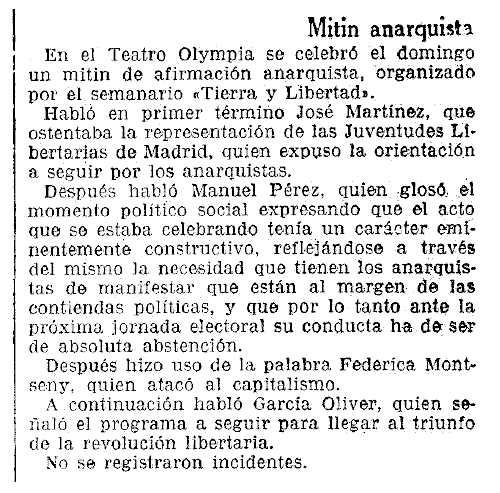 """Ressenya del míting apareguda en el diari barcelonès """"La Vanguardia"""" del 28 de gener de 1936"""