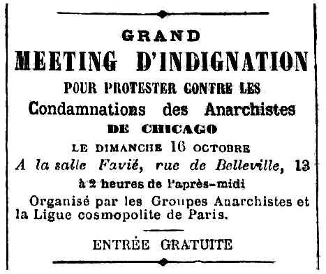 """Propaganda de l'acte apareguda en el diari parisenc """"Le Cri du Peuple"""" del 16 d'octubre de 1887"""