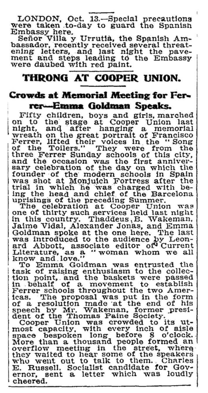 """Notícia del míting apareguda en """"The New York Times"""" del 14 d'octubre de 1910"""