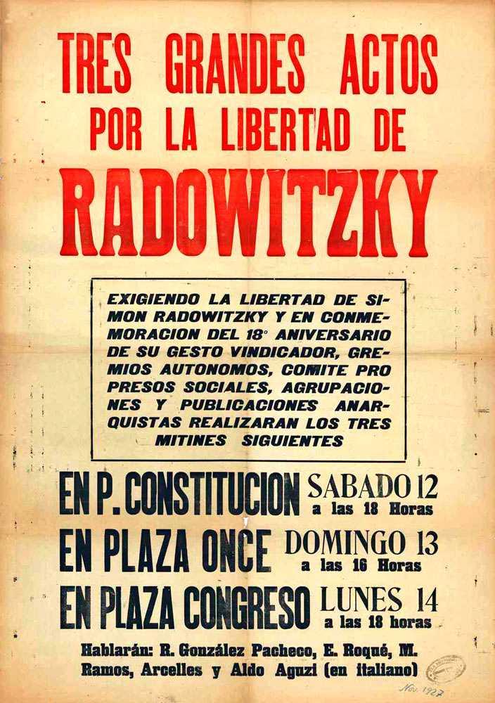Cartell dels mítings pro Radowitzky