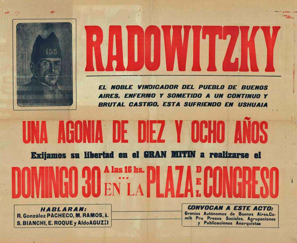 Cartell del míting pro Radowitzky