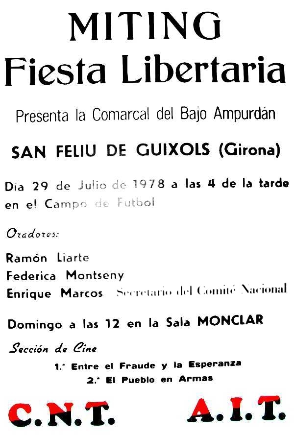 Cartell del míting de Sant Feliu de Guíxols