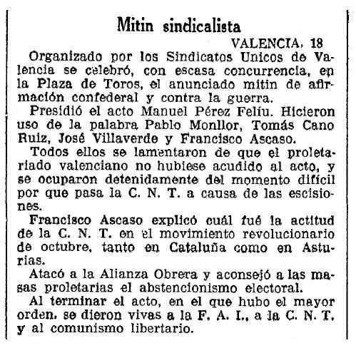 """Notícia sobre el míting sindicalista apareguda en el diari barceloní """"La Vanguardia"""" del 19 de novembre de 1935"""