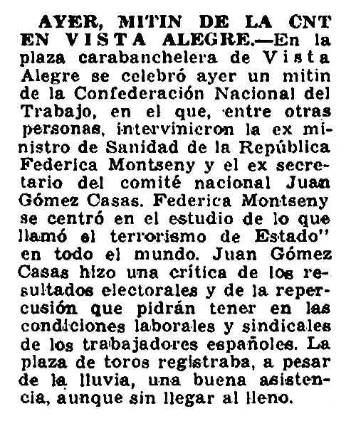"""Ressenya sobre el míting apareguda en el periòdic madrileny """"Hoja del Lunes"""" del 19 de març de 1979"""
