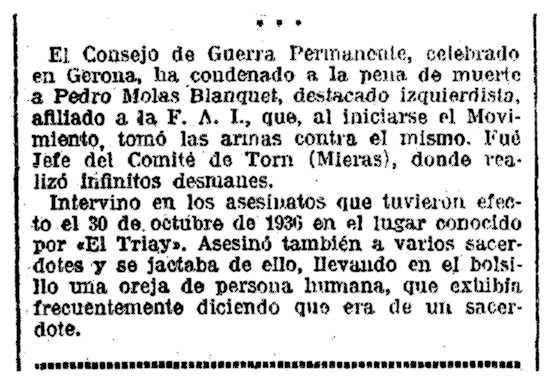 """Notícia del consell de guerra de Pere Molas Blanquet apareguda en """"La Vanguardia"""" del 15 de març de 1939"""