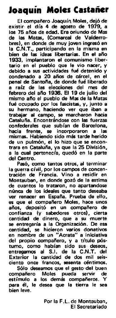 "Necrològica de Joaquín Moles Castañer apareguda en el periòdic tolosà ""Espoir"" del 23 de setembre de 1979"
