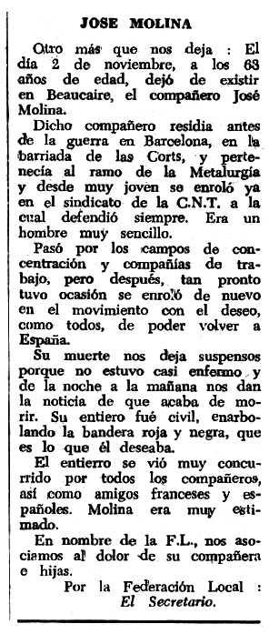"""Necrològica de José Molina Martínez apareguda en el periòdic tolosà """"Espoir"""" del 29 de gener de 1967"""