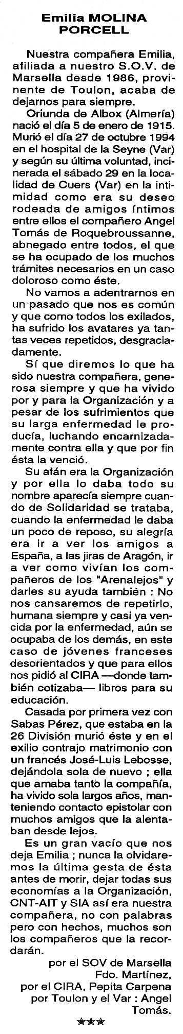 """Necrològica d'Emilia Molina Porcel apareguda en el periòdic tolosà """"Cenit"""" del 29 de novembre de 1994"""