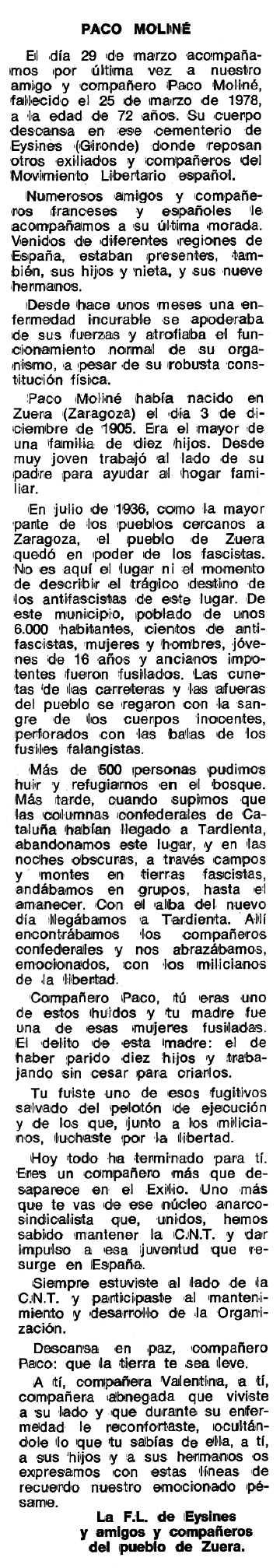 "Necrològica de Francisco Moliné Viñas publicada en el periòdic tolosà ""Espoir"" del 12 de juny de 1978"