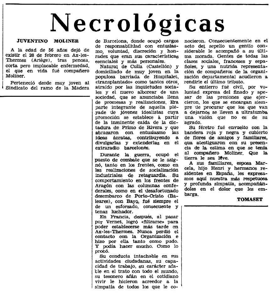 """Necrològica de Juventí Moliner Barreda apareguda en el periòdic tolosà """"Espoir"""" del 14 de juliol de 1968"""