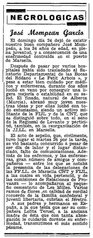 """Necrològica de José Mompeán García apareguda en el periòdic parisenc """"Solidaridad Obrera"""" el 6 de juny de 1953"""