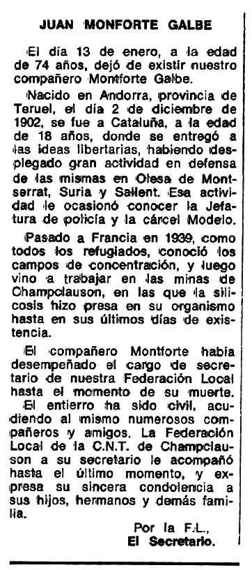 """Necrològica de Juan Monforte Galbe apareguda en el periòdic tolosà """"Espoir"""" del 6 de març de 1977"""