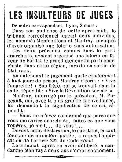 """Notícia de la condemna de Marius Monfray apareguda en el diari parisenc """"Le Petit Journal"""" del 6 de març de 1887"""