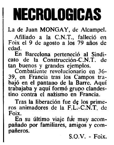 """Necrològica de Joan Mongay Bares apareguda en el periòdic tolosà """"Cenit"""" del 25 de setembre de 1984"""