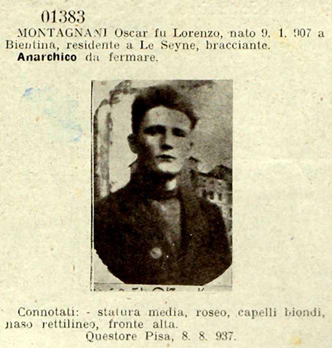 "Fitxa policíaca d'Oscar Montagnani del ""Bolletino delle Ricerche. Supplemento dei Sovversivi"" del 4 de setembre de 1937"